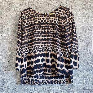 Maeve (Anthro) Linosa Silk Leopard Print Blouse